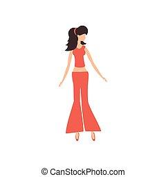 bonito, estilo, mulher, moda, retro
