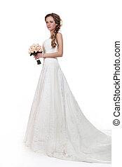 bonito, estilo, mulher, -, noiva, vestido casamento