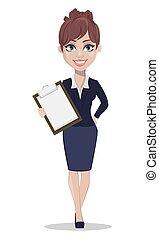 bonito, estilo, negócio mulher, escritório, roupas