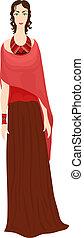 bonito, estilo, roupas, menina, étnico