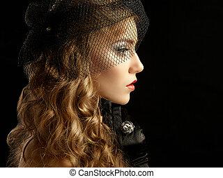 bonito, estilo, vindima,  retro, Retrato, mulher