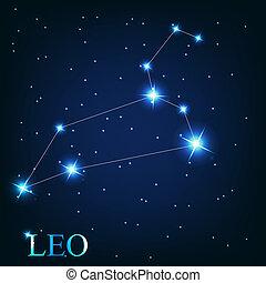 bonito, estrelas, céu, cósmico, sinal, luminoso, vetorial, fundo, signos, leo