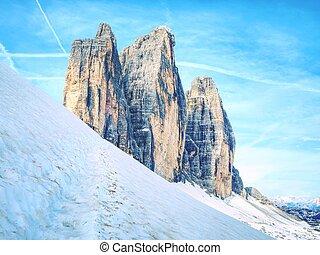 bonito, europa, itália, ao redor, cime, di, primavera, dolomites, tre, lavaredo, massive., cores, caminhada