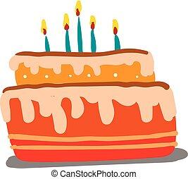 bonito, exceda, two-layered, cor, velas, baunilha, ilustração, desenho, glowing, vetorial, bolo, flavored, ou, celebração