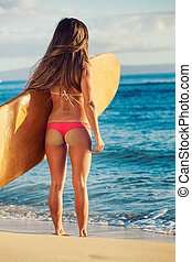 bonito, excitado, biquíni, menina, surfista
