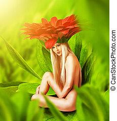 bonito, excitado, fada, mulher, flor
