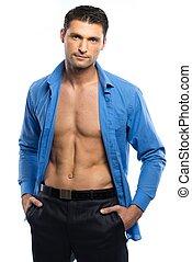 bonito, excitado, homem, em, camisa azul, e, preto arqueja