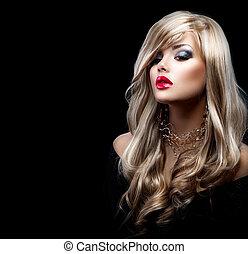 bonito, excitado, loiro, mulher, com, cabelo longo
