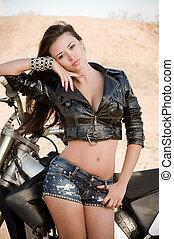 bonito, excitado, menina, motocicleta