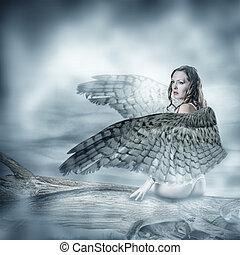 bonito, excitado, mulher, asas, pássaros