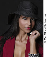 bonito, excitado, mulher, chapéu