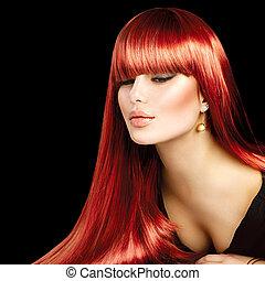 bonito, excitado, mulher, com, longo, liso, brilhante, cabelo reto