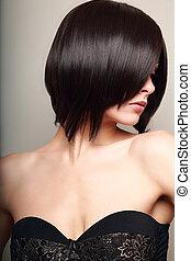bonito, excitado, mulher, looking., pretas, cabelo curto, style., closeup