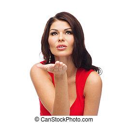 bonito, excitado, mulher, vestido, vermelho