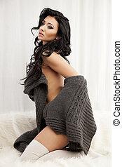 bonito, excitado, suéter, mulher