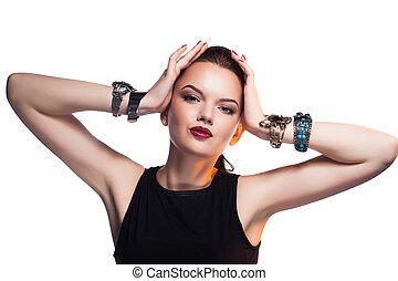 bonito, exclusivo, penteado, moda, jewelry., maquilagem, glamour, posar, retrato, profissional, modelo