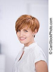 bonito, executiva, cabelo, vermelho, feliz