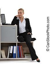 bonito, executiva, escritório, dela, relaxante