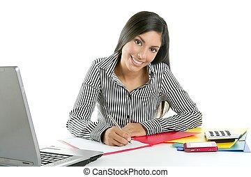 bonito, executiva, secretária, escrivaninha, escrita