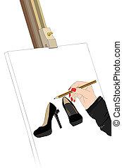 bonito, exibição, sapatos