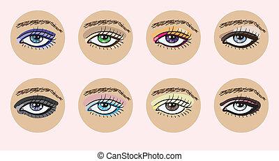 bonito, eyes., jogo, femininas, vetorial