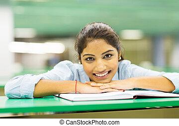 bonito, faculdade, aluno feminino