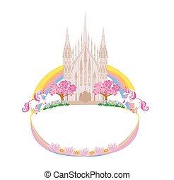 bonito, fairytale, castelo, quadro
