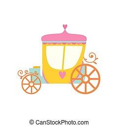 bonito, fairytale, ilustração, princesa, carruagem, vetorial, caricatura