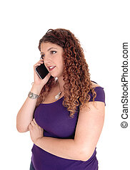 bonito, falando, mulher, telefone.
