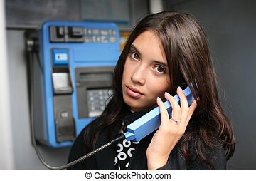 bonito, falando, payphone, mulher, jovem