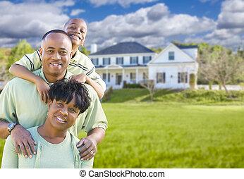 bonito, família, casa, americano, africano, frente