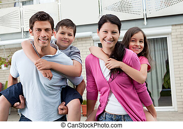 bonito, família jovem, junto