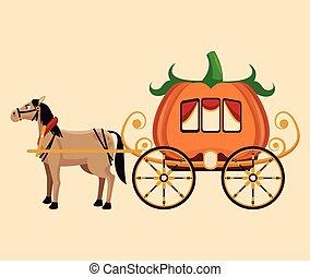 bonito, fantástico, cavalo, conto, carruagem, abóbora