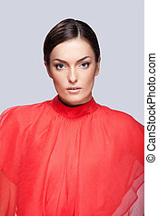 bonito, fascinante, mulher, limpo, cinzento, jovem, skin., closeup, fundo, retrato, rosto, vermelho