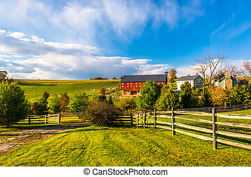 bonito, fazenda, em, rural, york, município, pennsylvania.