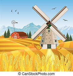 bonito, fazenda, outono, cena, caricatura