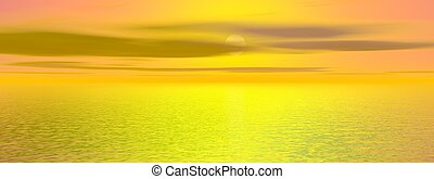 bonito, -, fazendo, pôr do sol, mar, 3d