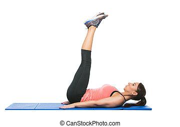 bonito, fazer, mulher, desporto, exercício