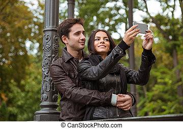 bonito, fazer, par, selfie, foto