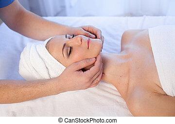 bonito, fazer, terapia, facial, spa, menina, massagem