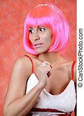 bonito, feliz, menina, com, cabelo cor-de-rosa