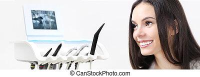 bonito, ferramentas, mulher, fundo, teia, conceito, dental, clínica, odontólogo, dentista, modelo, sorrindo, bandeira, cuidado