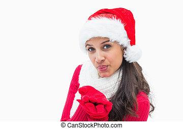 bonito, festivo, mulher sorri, câmera