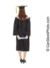bonito, ficar, cheio, costas, graduação, jovem, comprimento, mulher