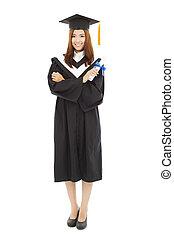 bonito, ficar, cheio, jovem, graduação, comprimento, mulher