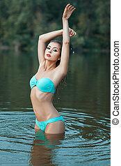 bonito, ficar, menina, lago, water.