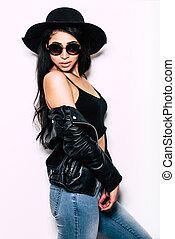 bonito, ficar, mulher, óculos de sol, casaco, dela, couro,...