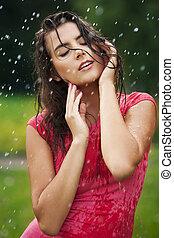 bonito, ficar, mulher, chuva