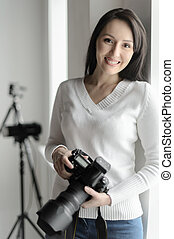 bonito, ficar, mulher, dela, fotografia, middle-aged,...
