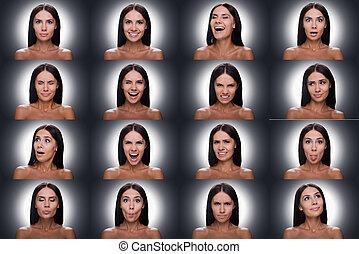 bonito, ficar, mulher, expressar, colagem, shitless, jovem, emoções, cinzento, enquanto, diverso, contra, fundo, emotions.